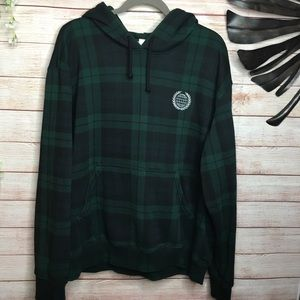 L.O.G.G by H&M green and black plaid hoodie XL